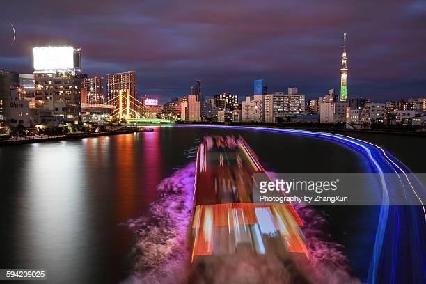 Tokyo waterfront night view illuminated
