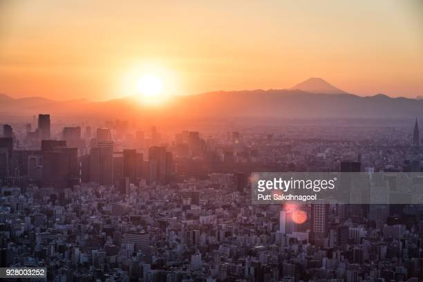 Tokyo with Mount Fuji at Sunset
