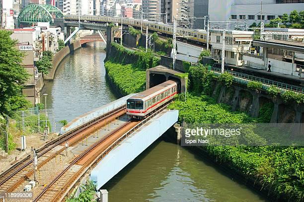 Tokyo Yamanote circle train passing river