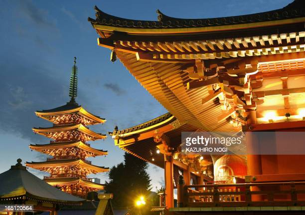 Tokyo's famous landscape Sensojitemple and a fivestoried pagoda are lighted up in the night scene 02 October 2003 to commemorate the 400th...