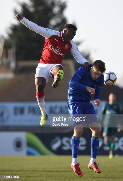 Tolaji Bola of Arsenal challenges Mario Cuze of Dinamo for the ball during the match between Arsenal and Dinamo Zagreb at Meadow Park on February 24...