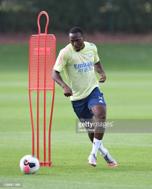 Tolaji Bola of Arsenal during the Arsenal U23 training session at London Colney on August 17, 2020 in St Albans, England.