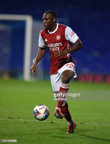 Tolaji Bola of Arsenal during the Leasingcom Cup match between Ipswich Town and Arsenal U21 at Portman Road on September 08 2020 in Ipswich England