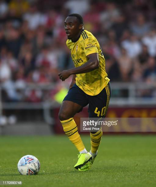 Tolaji Bola of Arsenal during the Leasingcom match between Northampton Town and Arsenal U21 at PTS Academy Stadium on August 27 2019 in Northampton...