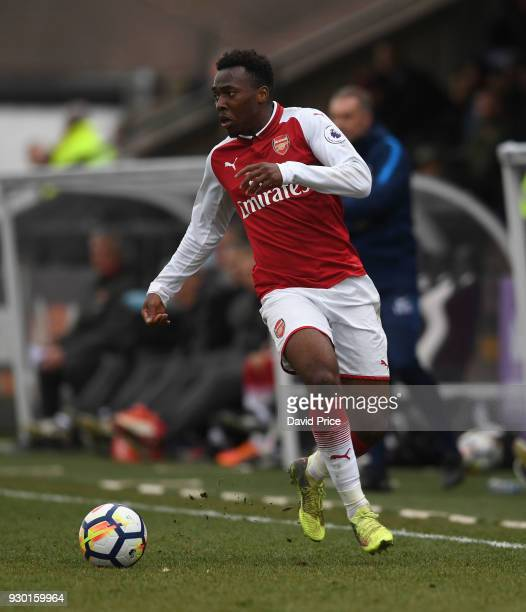 Tolaji Bola of Arsenal during the match between Arsenal and Tottenham Hotspur at Meadow Park on March 10 2018 in Borehamwood England