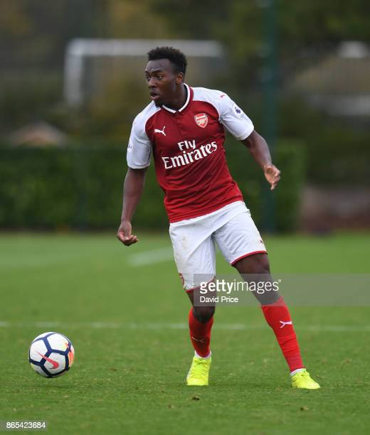 Tolaji Bola of Arsenal during the match between Tottehma Hotspur and Arsenal on October 23 2017 in Enfield England