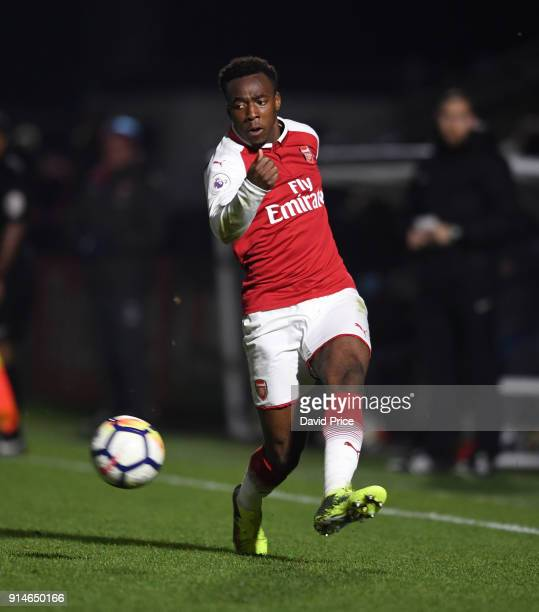 Tolaji Bola of Arsenal during the Premier League 2 match between Arsenal and Everton at Meadow Park on February 5 2018 in Borehamwood England