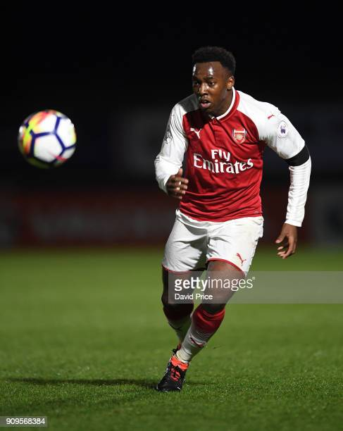 Tolaji Bola of Arsenal during the Premier League International Cup Match between Arsenal and Bayern Munich at Meadow Park on January 23 2018 in...