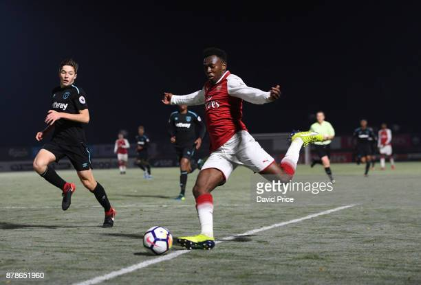 Tolaji Bola of Arsenal during the Premier League Two match between Arsenal U23 and West Ham United U23 at Meadow Park on November 24 2017 in...