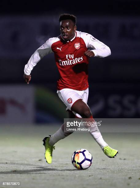 Tolaji Bola of Arsenal in action during the Premier League 2 match between Arsenal and West Ham United at Meadow Park on November 24 2017 in...