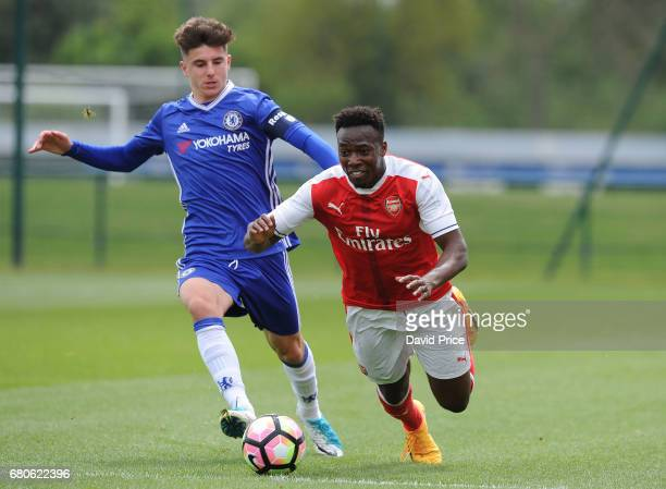 Tolaji Bola of Arsenal is fouled by Mason Mount of Chelsea during the U18 Premier League match between Chelsea and Arsenal at Chelsea Training Ground...