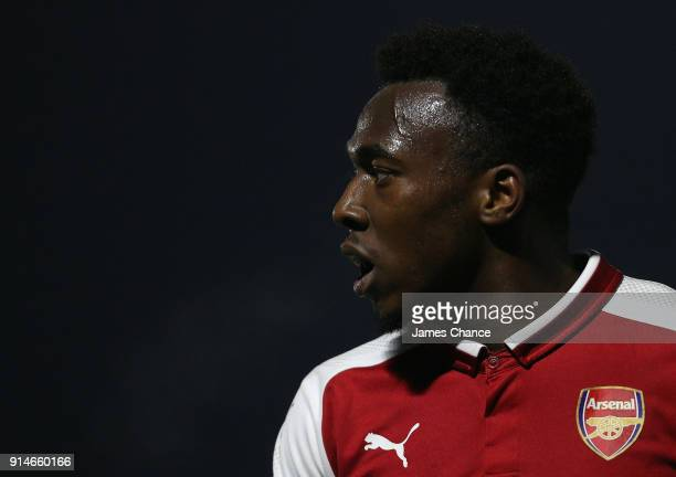 Tolaji Bola of Arsenal looks on during the Premier League 2 match between Arsenal and Everton at Meadow Park on February 5 2018 in Borehamwood England