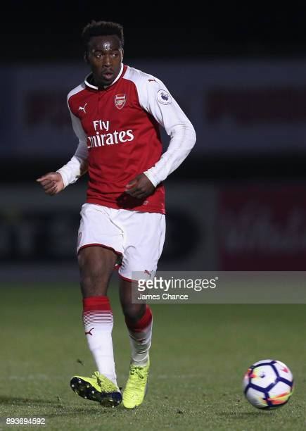 Tolaji Bola of Arsenal passes the ball during the Premier League 2 match between Arsenal and Derby County at Meadow Park on December 15 2017 in...