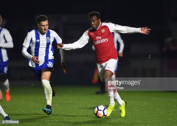 Tolaji Bola of Arsenal takes on Diogo Dalot of Porto during the match between Arsenal U23 and Porto at Meadow Park on November 17 2017 in Borehamwood...