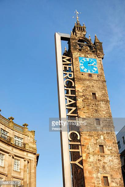 tolbooth steeple and merchant city district sign, glasgow - theasis stock pictures, royalty-free photos & images