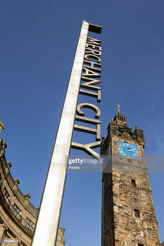 Tolbooth Steeple and Merchant City District Sign, Glasgow : Stock Photo