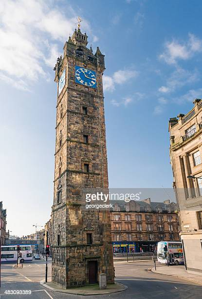 tolbooth steeple at glasgow cross - old glasgow stock photos and pictures