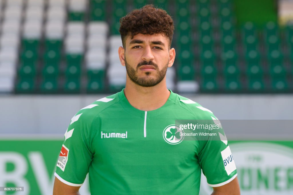 Tolcay Cigerci of SpVgg Greuther Fuerth poses during the team presentation at Sportpark Ronhof on July 6, 2017 in Fuerth, Germany.