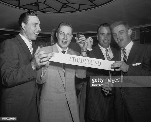 'I Told You So' Brooklyn New York Doing it up right at the victory dinner at the Hotel Bossert are a Dodger foursome who played a major role in...