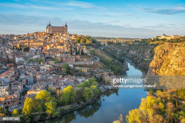 toledo at sunset, spain. - segovia stock pictures, royalty-free photos & images