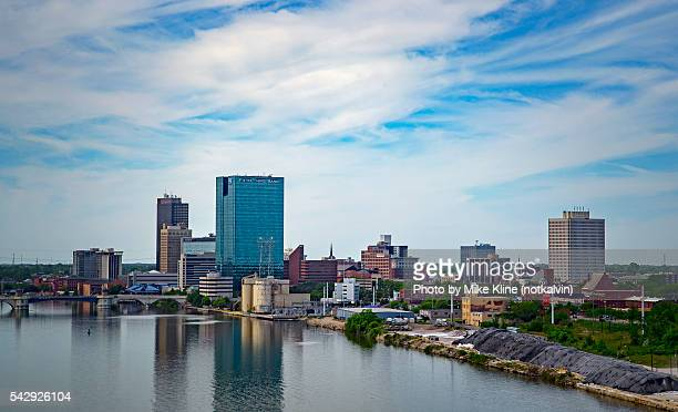 toledo from the skyway bridge - ohio stock photos and pictures