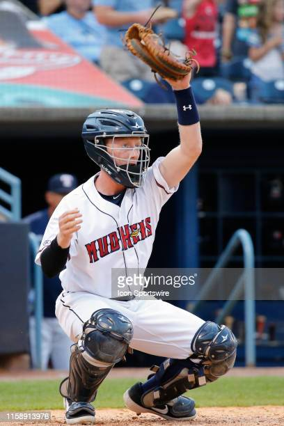 Toledo Mud Hens catcher Jon Rosoff is seen during a regular season game between the Louisville Bats and the Toledo Mud Hens on July 30, 2019 at Fifth...