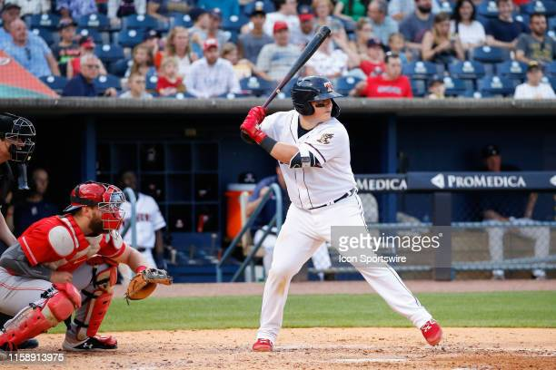 Toledo Mud Hens catcher Kade Scivicque at bat during a regular season game between the Louisville Bats and the Toledo Mud Hens on July 30, 2019 at...