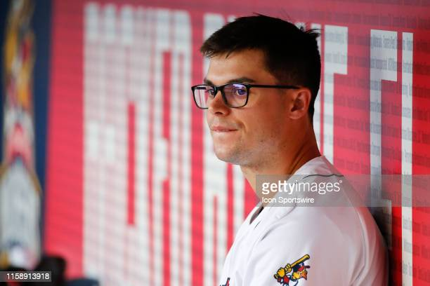 Toledo Mud Hens designated hitter Jacob Robson is seen in the dugout during a regular season game between the Louisville Bats and the Toledo Mud Hens...