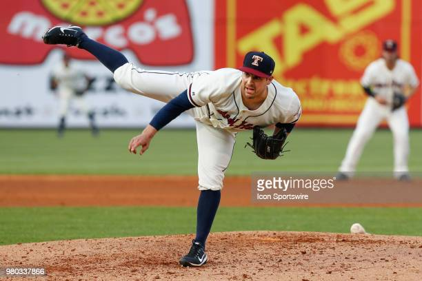Toledo Mud Hens relief pitcher Paul Voelker delivers a pitch during a regular season game between the Louisville Bats and the Toledo Mud Hens on June...