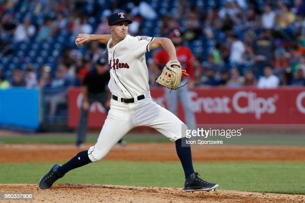 Toledo Mud Hens relief pitcher Zac Reininger delivers a pitch during a regular season game between the Louisville Bats and the Toledo Mud Hens on...