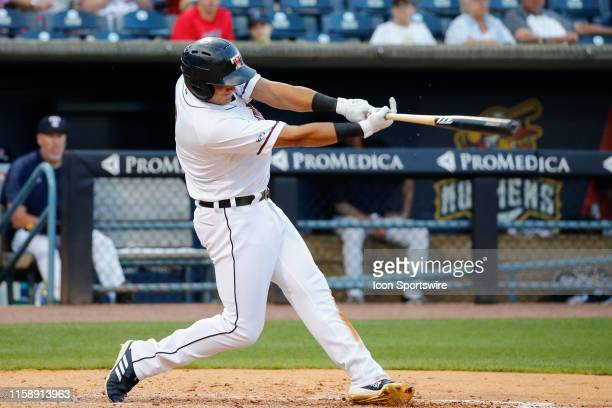 Toledo Mud Hens right fielder Mikie Mahtook at bat during a regular season game between the Louisville Bats and the Toledo Mud Hens on July 30, 2019...