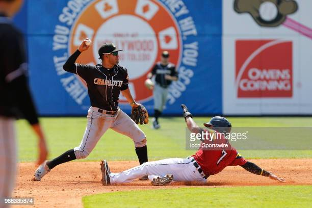 Toledo Mud Hens second baseman Harold Castro slides into second base for a force out while Charlotte Knights shortstop Jose Rondon throws the ball to...