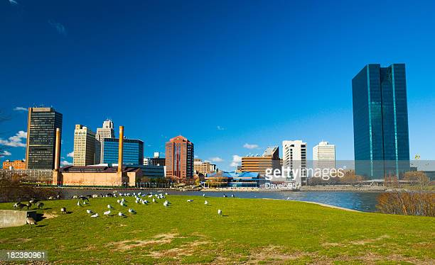Toledo, OH skyline, river, and park
