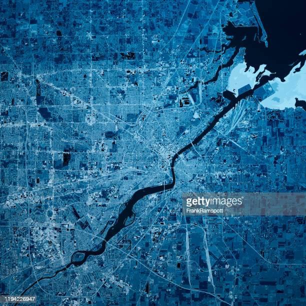 toledo ohio 3d render karte blau top ansicht mär 2019 - physische geographie stock-fotos und bilder
