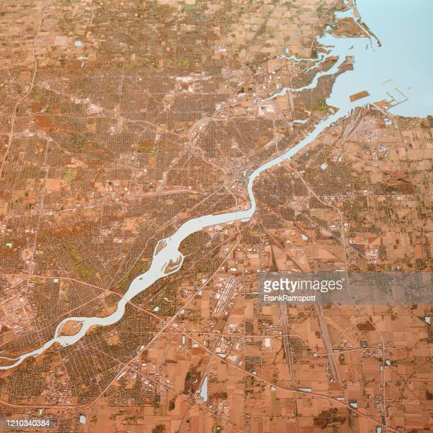 toledo ohio 3d render map color top view mar 2019 - frank ramspott stock pictures, royalty-free photos & images