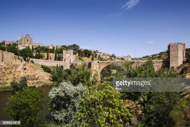 Toledo - River Tajo with famous historic bridge 'Puente de San Martín' (Castile–La Mancha/ Spain)