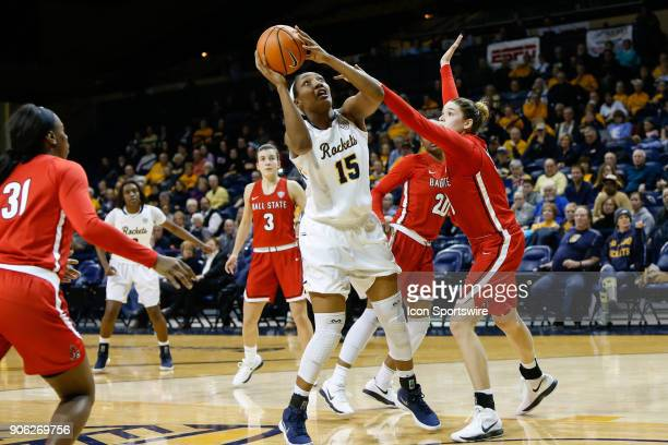 Toledo Rockets center Kaayla McIntyre puts up a shot against Ball State Cardinals forward Moriah Monaco during the second half of a regular season...