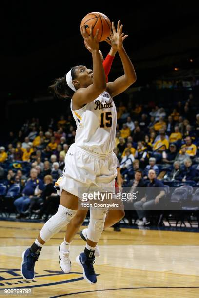 Toledo Rockets center Kaayla McIntyre puts up a shot during the second half of a regular season MidAmerican Conference game between the Ball State...