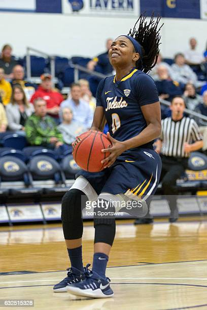 Toledo Rockets G Olivia Cunningham looks to shoot during the first quarter of the NCAA Women's Basketball game between the Toledo Rockets and Kent...