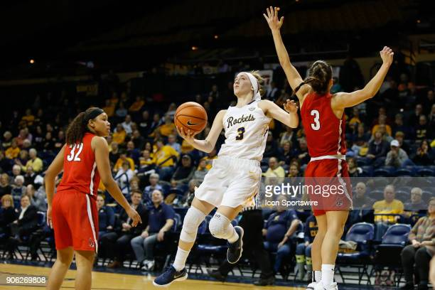 Toledo Rockets guard Mariella Santucci goes in for a layup against Ball State Cardinals guard Carmen Grande during the second half of a regular...