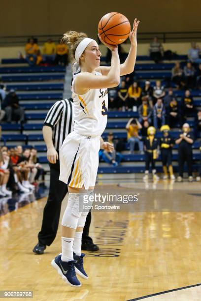 Toledo Rockets guard Mariella Santucci shoots a jump shot during the second half of a regular season MidAmerican Conference game between the Ball...