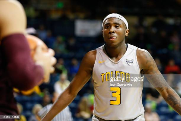 Toledo Rockets guard Marreon Jackson guards the inbound pass during a regular season MidAmerican Conference game between the Central Michigan...