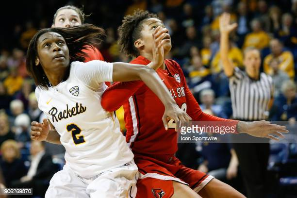 Toledo Rockets guard Mikaela Boyd battles for rebounding position against Ball State Cardinals forward Destiny Washington during the second half of a...