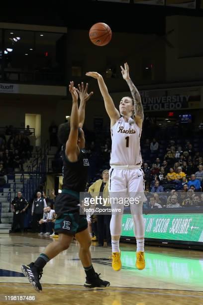 Toledo Rockets guard Sara Rokkanen shoots a jump shot during a regular season Mid-American Conference game between the Eastern Michigan Hurons and...
