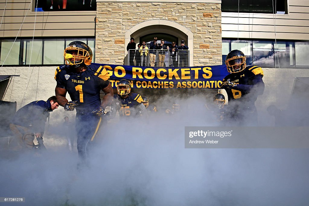 Toledo Rockets players take the field prior to the game against Central Michigan Chippewas at Glass Bowl on October 22, 2016 in Toledo, Ohio.