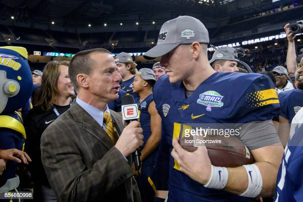 Toledo Rockets QB Logan Woodside gets interviewed after the MAC Championship game between Akron Zips and Toledo Rockets on December 2 2017 at Ford...
