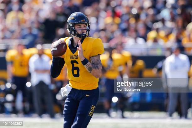 Toledo Rockets quarterback Mitchell Guadagni looks for a receiver during a game between Miami and Toledo on September 15, 2018 at Glass Bowl Stadium...