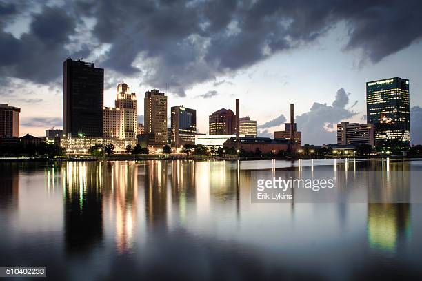 toledo skyline from maumee river - toledo ohio stock pictures, royalty-free photos & images