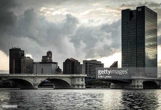 toledo skyline under stormy skies - toledo ohio stock pictures, royalty-free photos & images