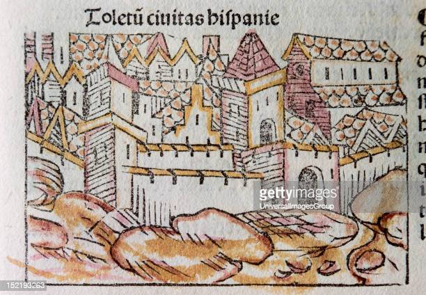 Toledo Spanish city Colored engraving by Franciscus Patricio Published in Venice in 1489 Liber Chronicorum Vel of Temporibus